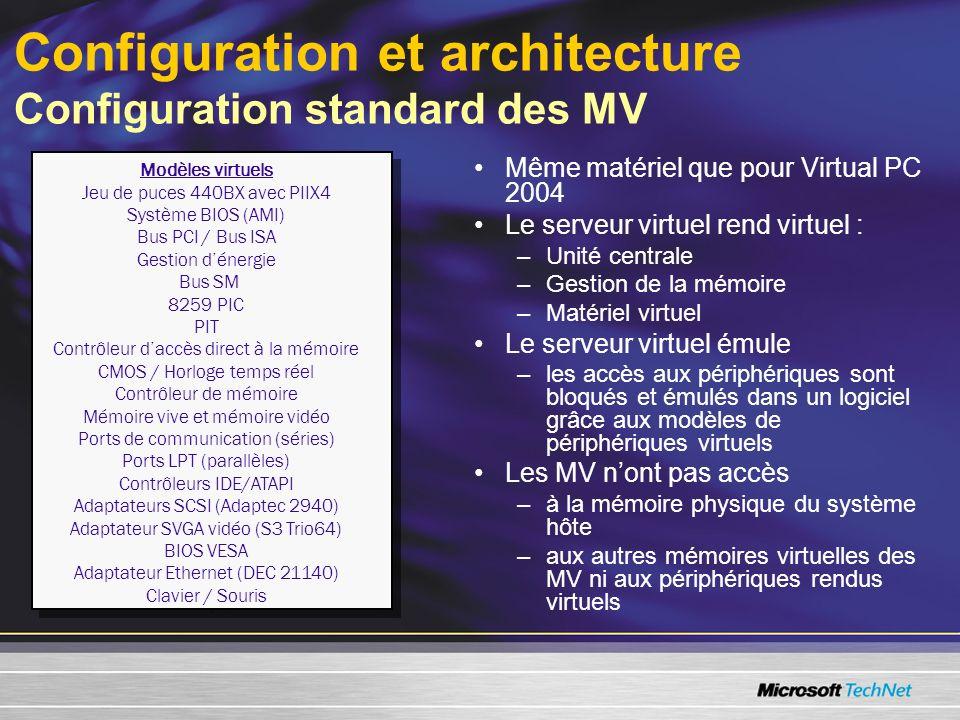 Configuration et architecture Configuration standard des MV Modèles virtuels Jeu de puces 440BX avec PIIX4 Système BIOS (AMI) Bus PCI / Bus ISA Gestion dénergie Bus SM 8259 PIC PIT Contrôleur daccès direct à la mémoire CMOS / Horloge temps réel Contrôleur de mémoire Mémoire vive et mémoire vidéo Ports de communication (séries) Ports LPT (parallèles) Contrôleurs IDE/ATAPI Adaptateurs SCSI (Adaptec 2940) Adaptateur SVGA vidéo (S3 Trio64) BIOS VESA Adaptateur Ethernet (DEC 21140) Clavier / Souris Modèles virtuels Jeu de puces 440BX avec PIIX4 Système BIOS (AMI) Bus PCI / Bus ISA Gestion dénergie Bus SM 8259 PIC PIT Contrôleur daccès direct à la mémoire CMOS / Horloge temps réel Contrôleur de mémoire Mémoire vive et mémoire vidéo Ports de communication (séries) Ports LPT (parallèles) Contrôleurs IDE/ATAPI Adaptateurs SCSI (Adaptec 2940) Adaptateur SVGA vidéo (S3 Trio64) BIOS VESA Adaptateur Ethernet (DEC 21140) Clavier / Souris Même matériel que pour Virtual PC 2004 Le serveur virtuel rend virtuel : –Unité centrale –Gestion de la mémoire –Matériel virtuel Le serveur virtuel émule –les accès aux périphériques sont bloqués et émulés dans un logiciel grâce aux modèles de périphériques virtuels Les MV nont pas accès –à la mémoire physique du système hôte –aux autres mémoires virtuelles des MV ni aux périphériques rendus virtuels