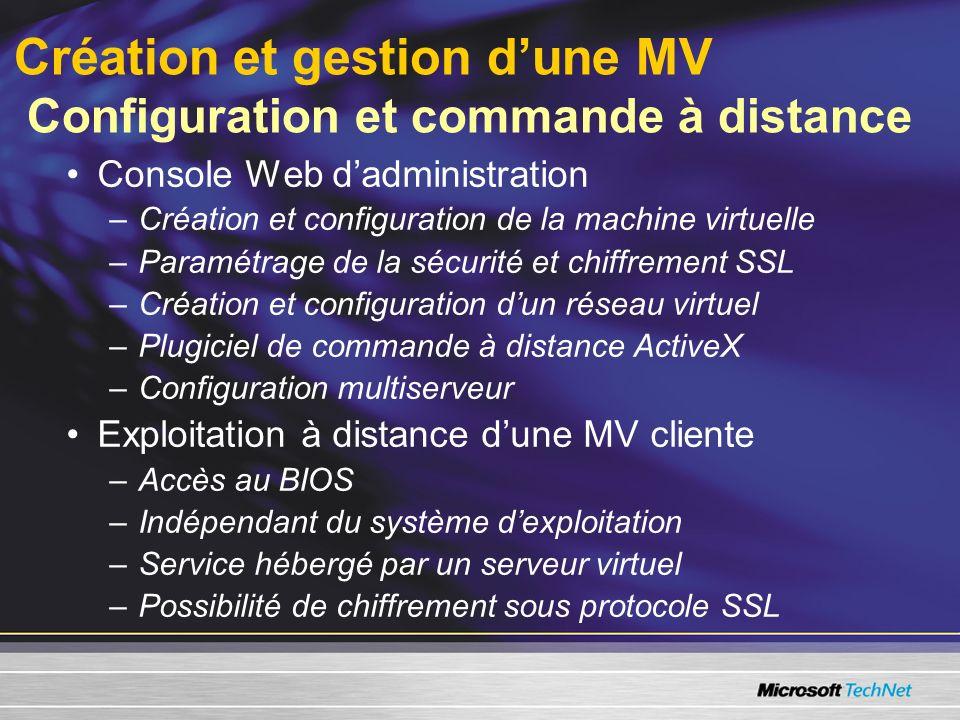 Création et gestion dune MV Configuration et commande à distance Console Web dadministration –Création et configuration de la machine virtuelle –Paramétrage de la sécurité et chiffrement SSL –Création et configuration dun réseau virtuel –Plugiciel de commande à distance ActiveX –Configuration multiserveur Exploitation à distance dune MV cliente –Accès au BIOS –Indépendant du système dexploitation –Service hébergé par un serveur virtuel –Possibilité de chiffrement sous protocole SSL