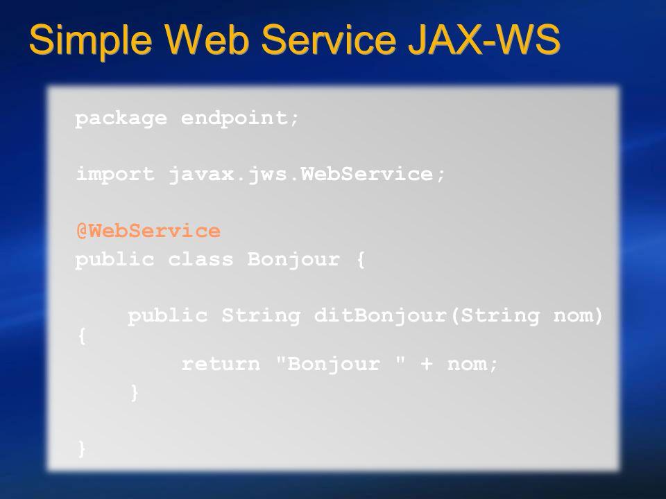 Simple Web Service JAX-WS package endpoint; import javax.jws.WebService; @WebService public class Bonjour { public String ditBonjour(String nom) { ret