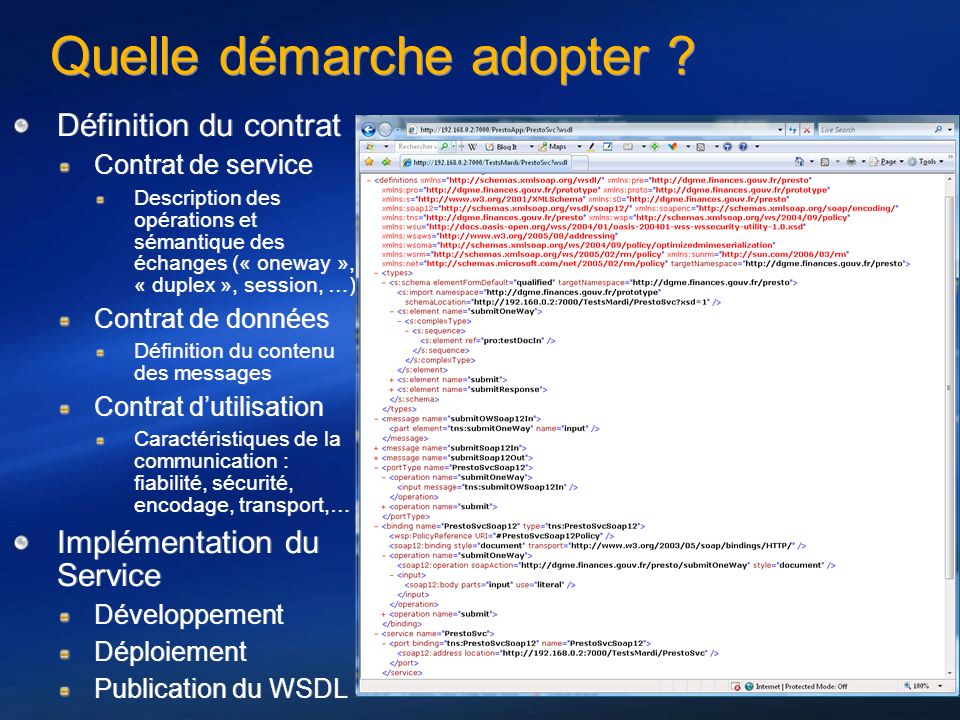 Quelle démarche adopter ? Définition du contrat Contrat de service Description des opérations et sémantique des échanges (« oneway », « duplex », sess