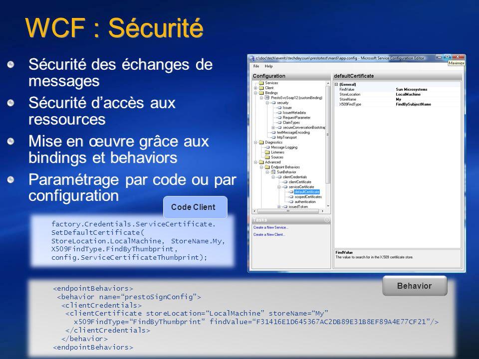 WCF : Sécurité Sécurité des échanges de messages Sécurité daccès aux ressources Mise en œuvre grâce aux bindings et behaviors Paramétrage par code ou