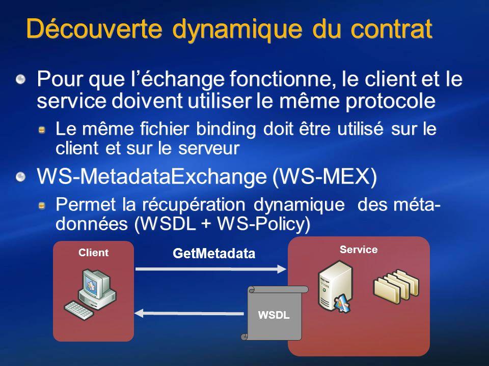 Découverte dynamique du contrat Pour que léchange fonctionne, le client et le service doivent utiliser le même protocole Le même fichier binding doit