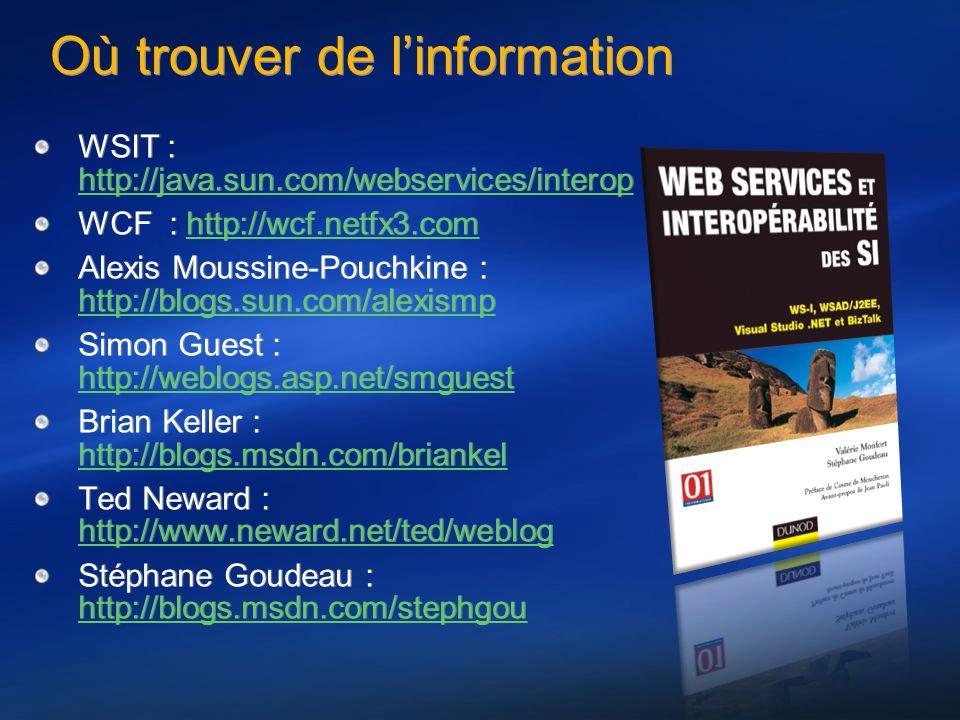 Où trouver de linformation WSIT : http://java.sun.com/webservices/interop http://java.sun.com/webservices/interop WCF : http://wcf.netfx3.comhttp://wc