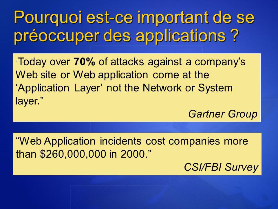 Pourquoi est-ce important de se préoccuper des applications ? Today over 70% of attacks against a companys Web site or Web application come at the App