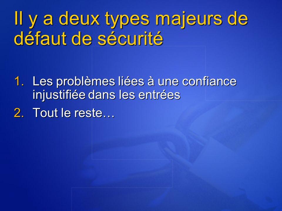 Il y a deux types majeurs de défaut de sécurité Les problèmes liées à une confiance injustifiée dans les entrées Les problèmes liées à une confiance i