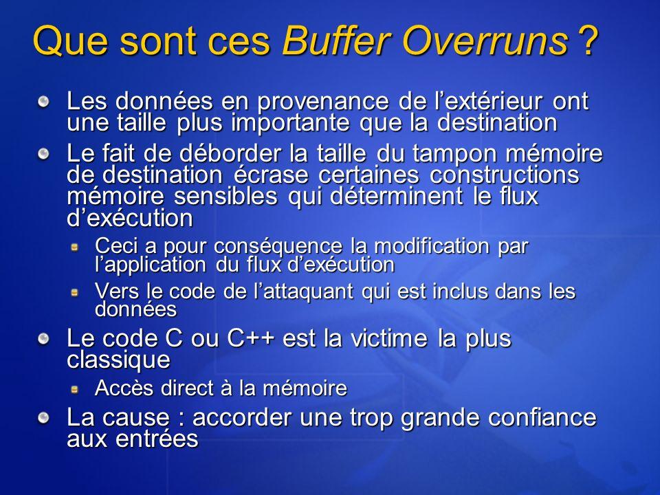 Que sont ces Buffer Overruns ? Les données en provenance de lextérieur ont une taille plus importante que la destination Le fait de déborder la taille