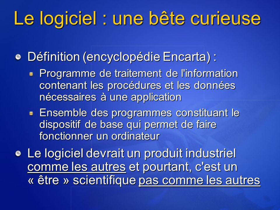 Le logiciel : une bête curieuse Définition (encyclopédie Encarta) : Programme de traitement de l'information contenant les procédures et les données n