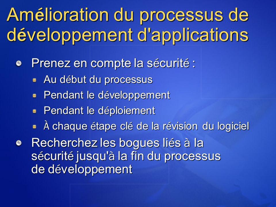 Am é lioration du processus de d é veloppement d'applications Prenez en compte la s é curit é : Au d é but du processus Pendant le d é veloppement Pen