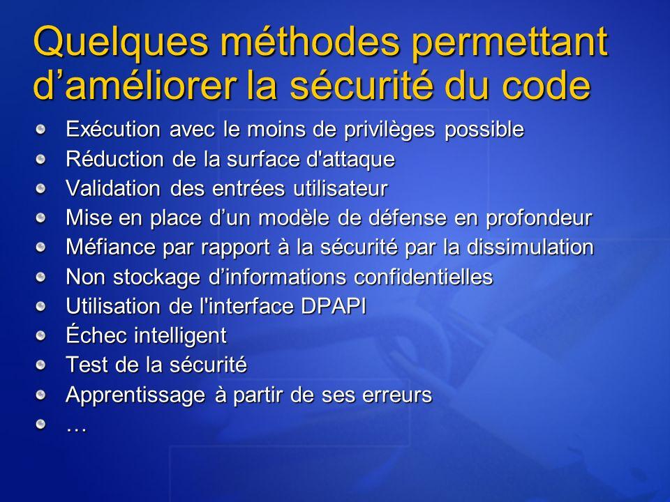 Quelques méthodes permettant daméliorer la sécurité du code Exécution avec le moins de privilèges possible Réduction de la surface d'attaque Validatio
