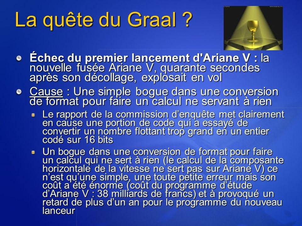 La quête du Graal ? Échec du premier lancement d'Ariane V : la nouvelle fusée Ariane V, quarante secondes après son décollage, explosait en vol Cause