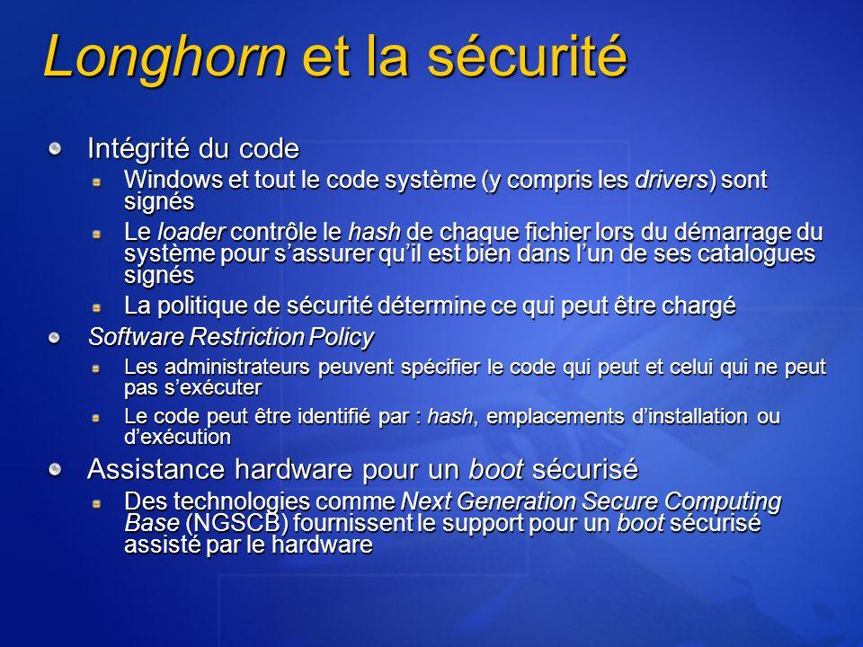 Longhorn et la sécurité Intégrité du code Windows et tout le code système (y compris les drivers) sont signés Le loader contrôle le hash de chaque fic