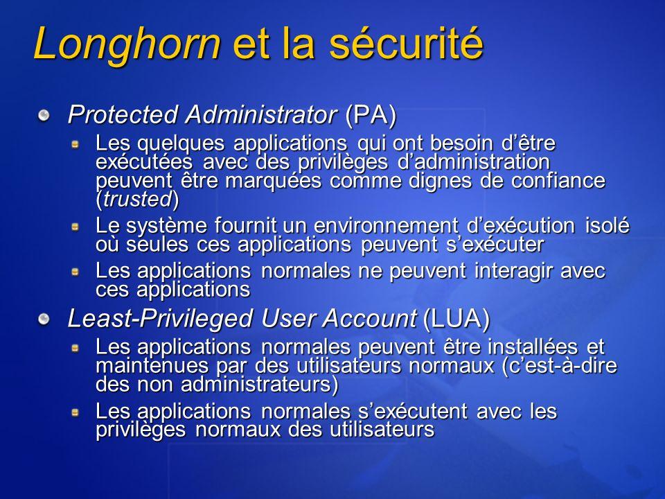 Longhorn et la sécurité Protected Administrator (PA) Les quelques applications qui ont besoin dêtre exécutées avec des privilèges dadministration peuv