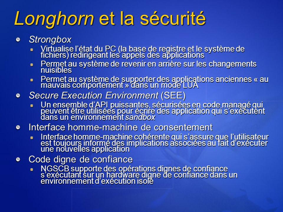Longhorn et la sécurité Strongbox Virtualise létat du PC (la base de registre et le système de fichiers) redirigeant les appels des applications Perme