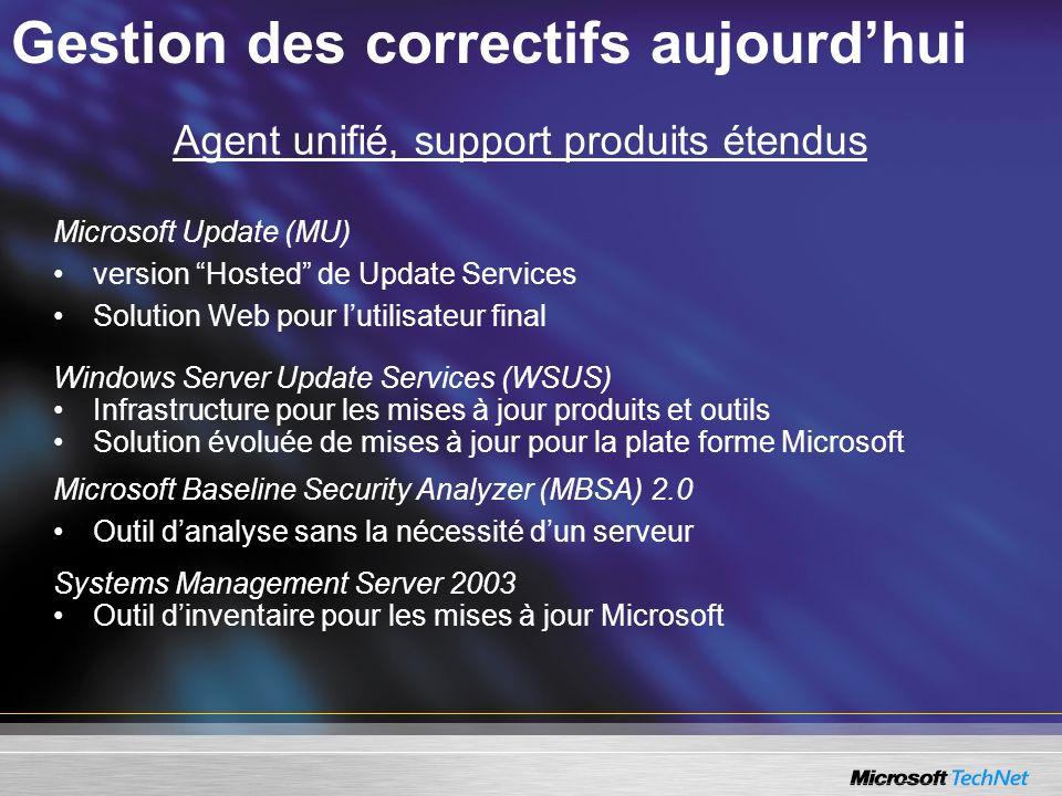 Agent unifié, support produits étendus Microsoft Update (MU) version Hosted de Update Services Solution Web pour lutilisateur final Windows Server Upd