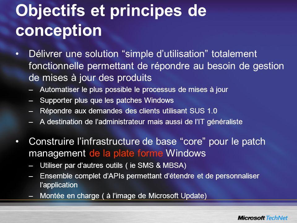 Objectifs et principes de conception Délivrer une solution simple dutilisation totalement fonctionnelle permettant de répondre au besoin de gestion de