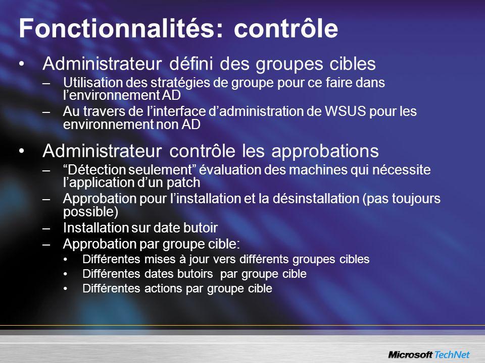 Fonctionnalités: contrôle Administrateur défini des groupes cibles –Utilisation des stratégies de groupe pour ce faire dans lenvironnement AD –Au trav