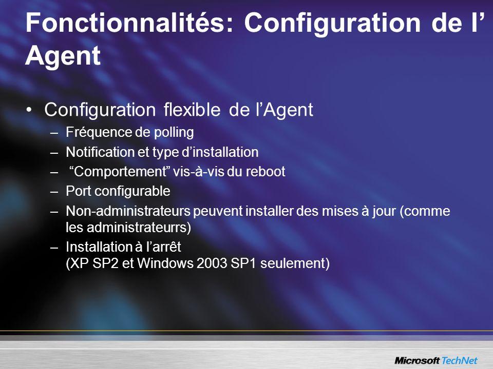 Fonctionnalités: Configuration de l Agent Configuration flexible de lAgent –Fréquence de polling –Notification et type dinstallation – Comportement vi