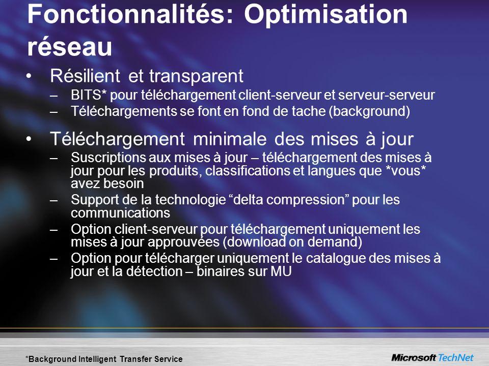 Fonctionnalités: Optimisation réseau Résilient et transparent –BITS* pour téléchargement client-serveur et serveur-serveur –Téléchargements se font en