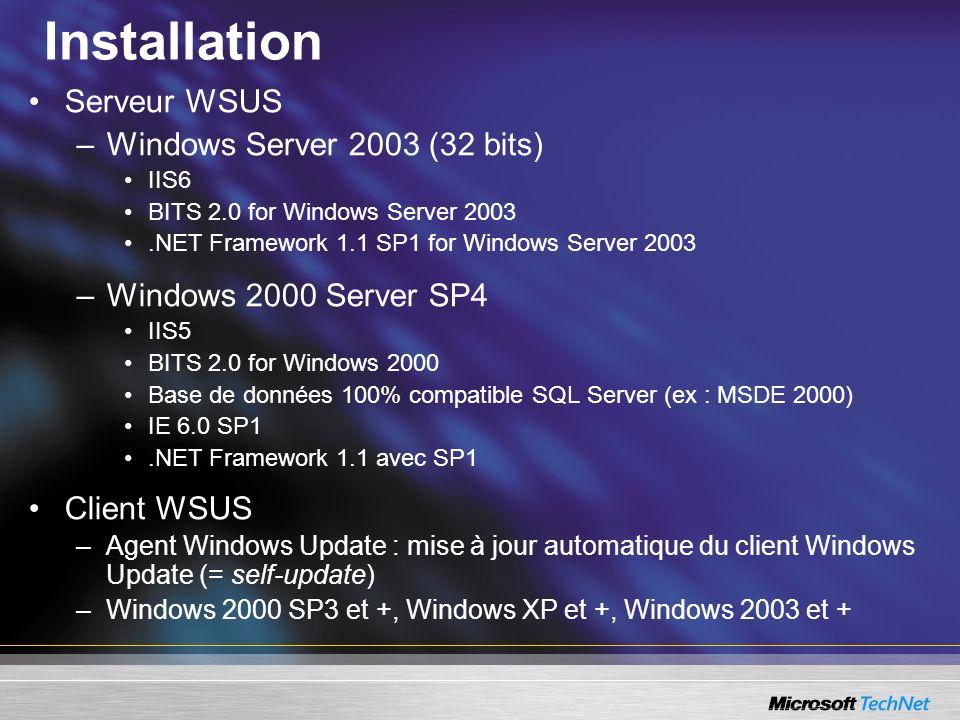 Installation Serveur WSUS –Windows Server 2003 (32 bits) IIS6 BITS 2.0 for Windows Server 2003.NET Framework 1.1 SP1 for Windows Server 2003 –Windows