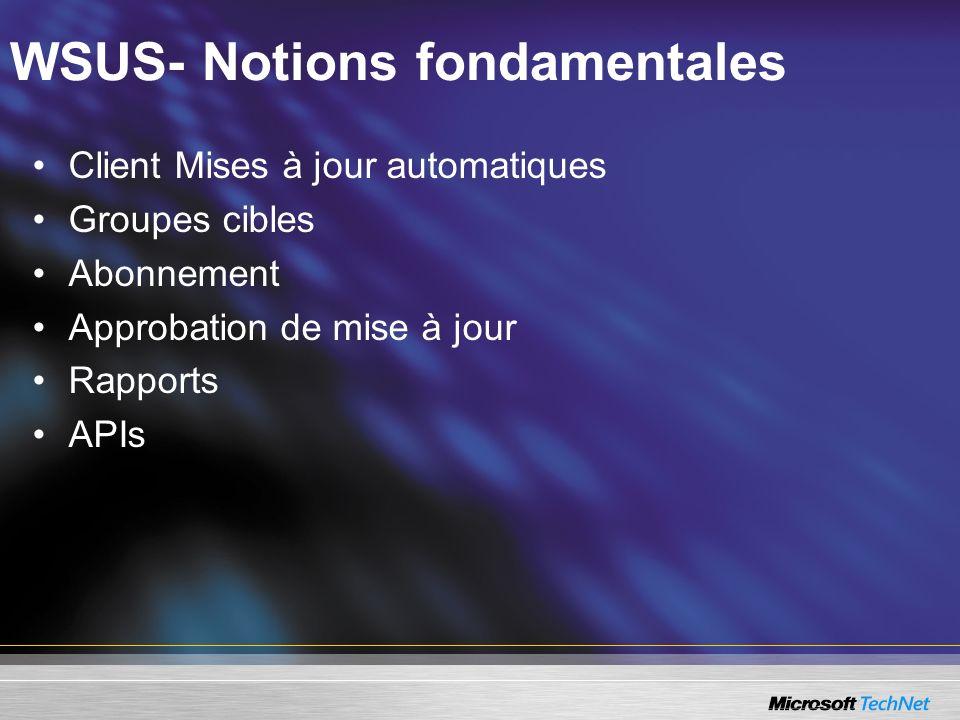 WSUS- Notions fondamentales Client Mises à jour automatiques Groupes cibles Abonnement Approbation de mise à jour Rapports APIs