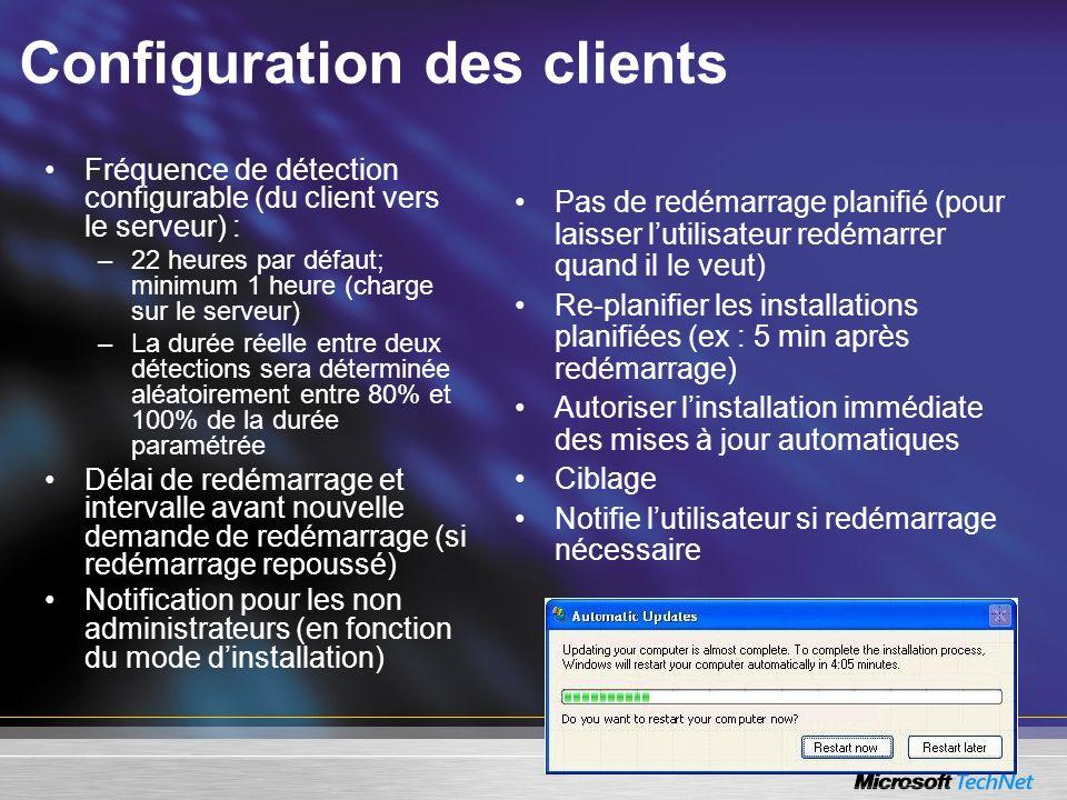 Configuration des clients Fréquence de détection configurable (du client vers le serveur) : –22 heures par défaut; minimum 1 heure (charge sur le serv