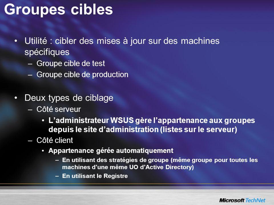 Groupes cibles Utilité : cibler des mises à jour sur des machines spécifiques –Groupe cible de test –Groupe cible de production Deux types de ciblage