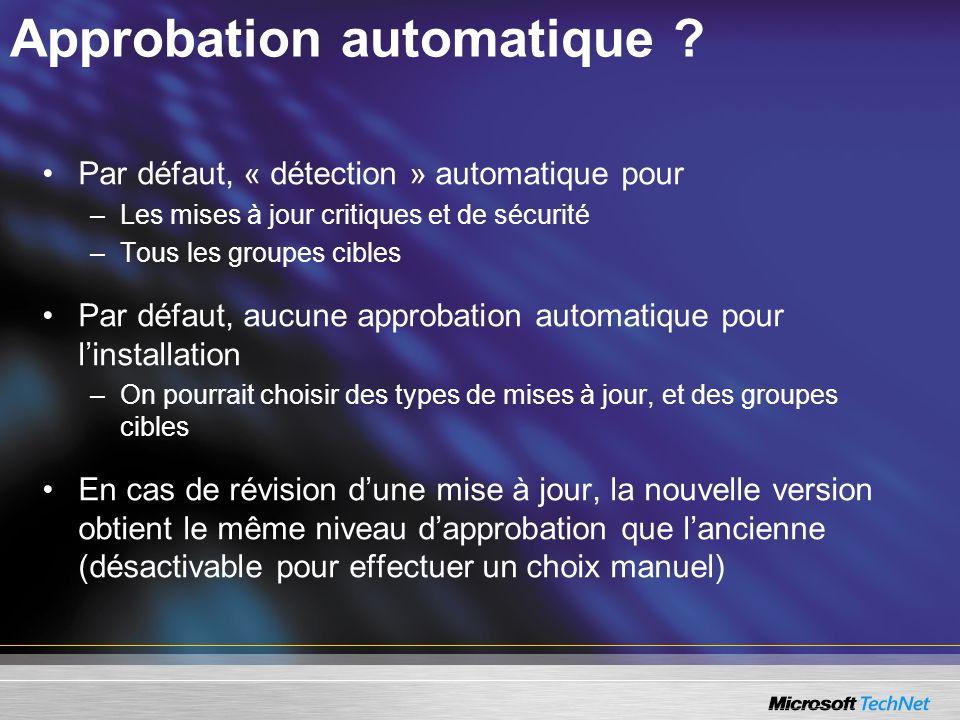 Approbation automatique ? Par défaut, « détection » automatique pour –Les mises à jour critiques et de sécurité –Tous les groupes cibles Par défaut, a