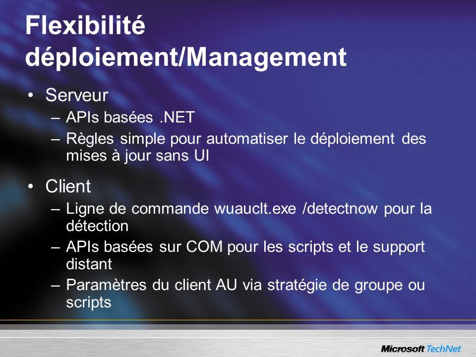 Flexibilité déploiement/Management Serveur –APIs basées.NET –Règles simple pour automatiser le déploiement des mises à jour sans UI Client –Ligne de c