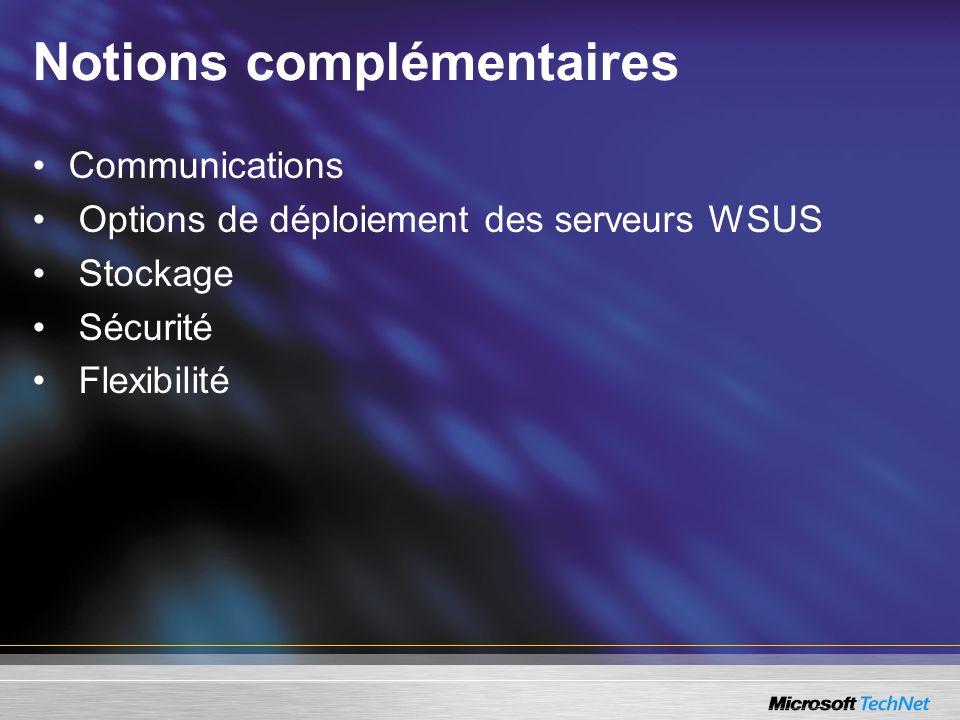 Notions complémentaires Communications Options de déploiement des serveurs WSUS Stockage Sécurité Flexibilité