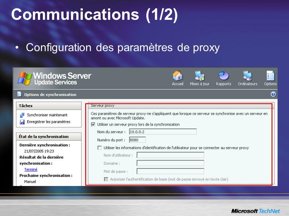 Communications (1/2) Configuration des paramètres de proxy