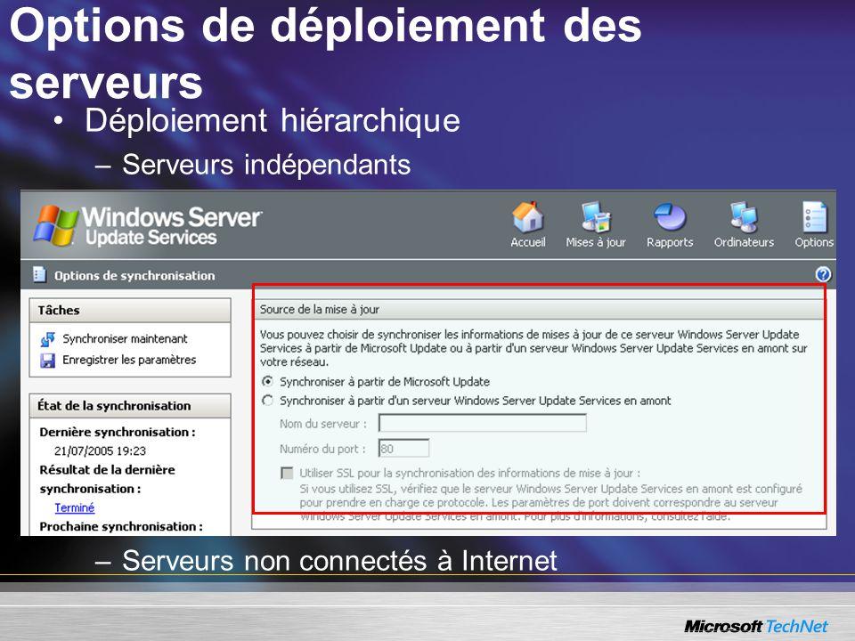 Options de déploiement des serveurs Déploiement hiérarchique –Serveurs indépendants –Serveurs non connectés à Internet