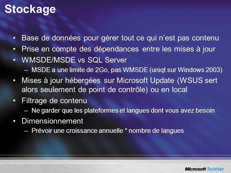Stockage Base de données pour gérer tout ce qui nest pas contenu Prise en compte des dépendances entre les mises à jour WMSDE/MSDE vs SQL Server –MSDE