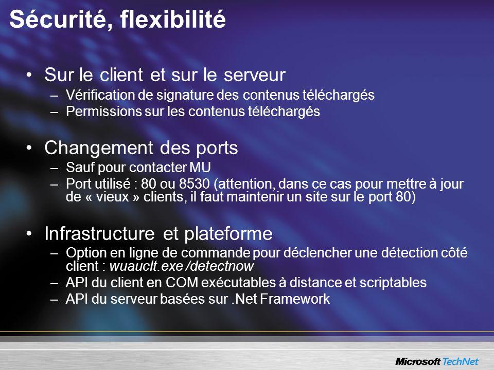 Sécurité, flexibilité Sur le client et sur le serveur –Vérification de signature des contenus téléchargés –Permissions sur les contenus téléchargés Ch