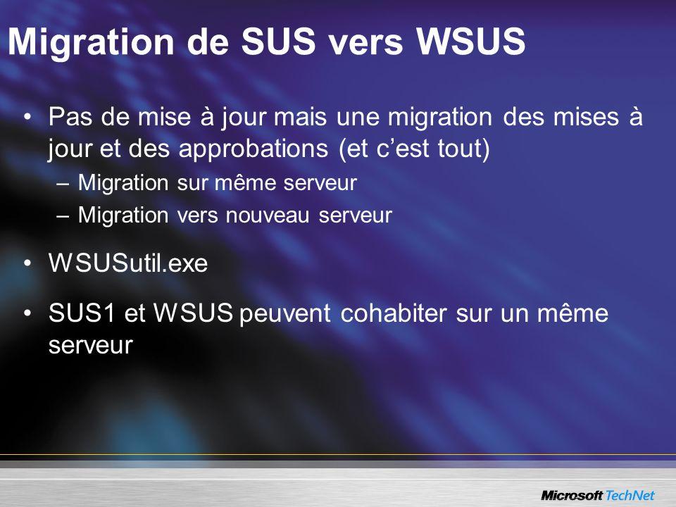 Migration de SUS vers WSUS Pas de mise à jour mais une migration des mises à jour et des approbations (et cest tout) –Migration sur même serveur –Migr