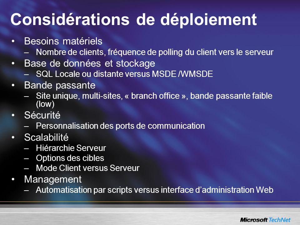 Considérations de déploiement Besoins matériels –Nombre de clients, fréquence de polling du client vers le serveur Base de données et stockage –SQL Lo