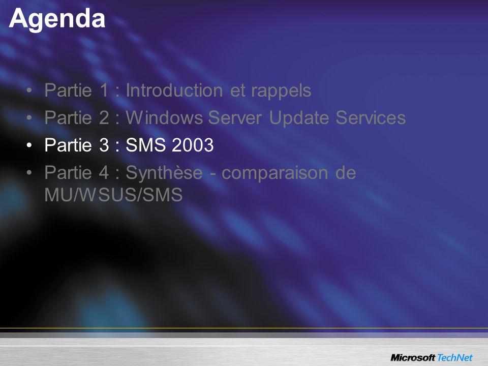 Agenda Partie 1 : Introduction et rappels Partie 2 : Windows Server Update Services Partie 3 : SMS 2003 Partie 4 : Synthèse - comparaison de MU/WSUS/S