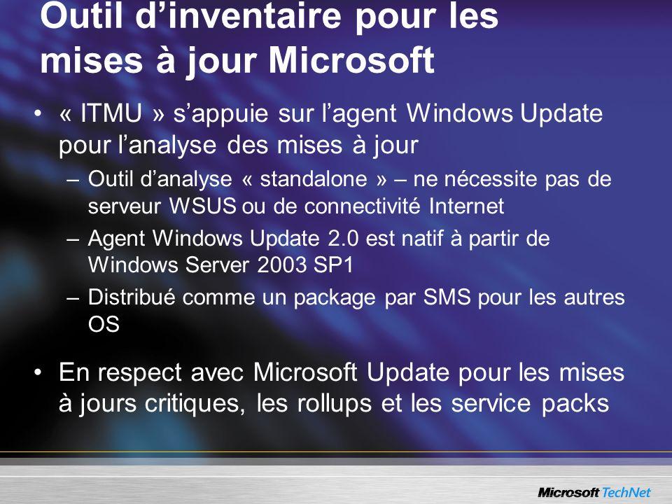 Outil dinventaire pour les mises à jour Microsoft « ITMU » sappuie sur lagent Windows Update pour lanalyse des mises à jour –Outil danalyse « standalo