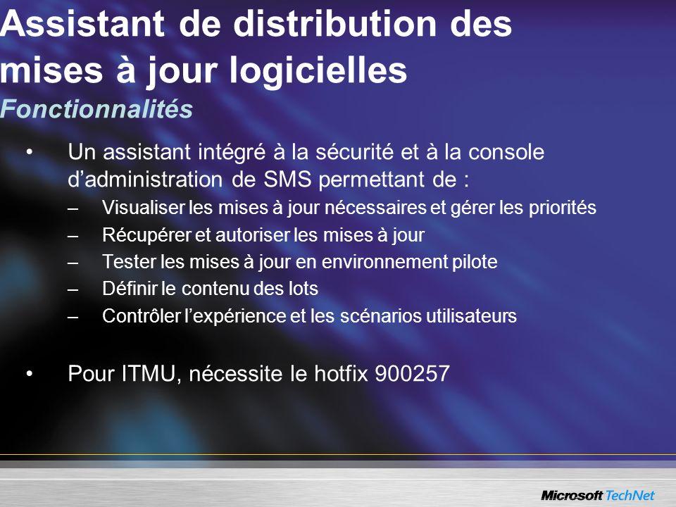 Un assistant intégré à la sécurité et à la console dadministration de SMS permettant de : –Visualiser les mises à jour nécessaires et gérer les priori