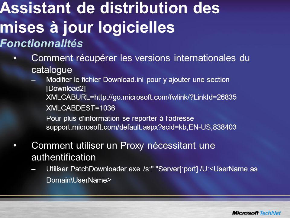 Comment récupérer les versions internationales du catalogue –Modifier le fichier Download.ini pour y ajouter une section [Download2] XMLCABURL=http://