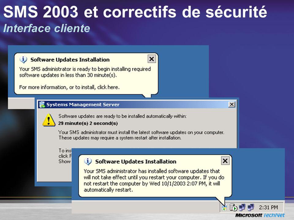 SMS 2003 et correctifs de sécurité Interface cliente
