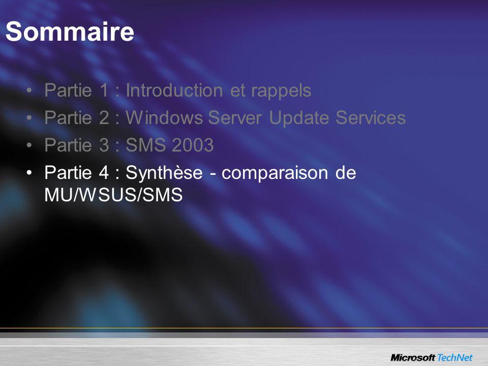 Sommaire Partie 1 : Introduction et rappels Partie 2 : Windows Server Update Services Partie 3 : SMS 2003 Partie 4 : Synthèse - comparaison de MU/WSUS