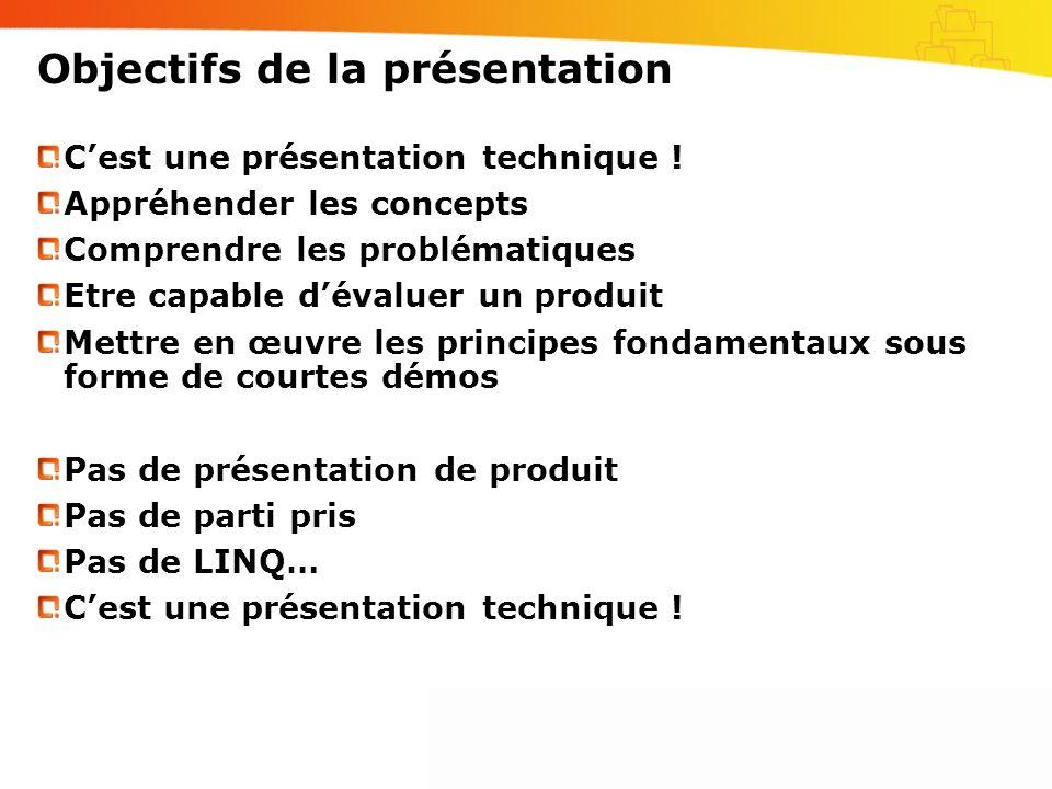 Objectifs de la présentation Cest une présentation technique ! Appréhender les concepts Comprendre les problématiques Etre capable dévaluer un produit