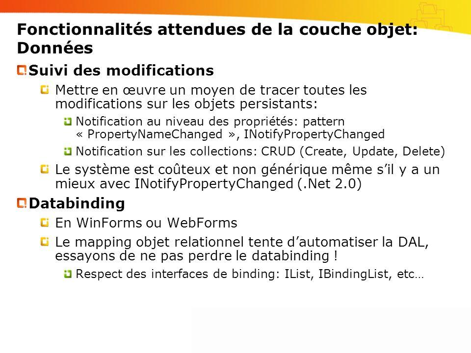 Fonctionnalités attendues de la couche objet: Données Suivi des modifications Mettre en œuvre un moyen de tracer toutes les modifications sur les obje