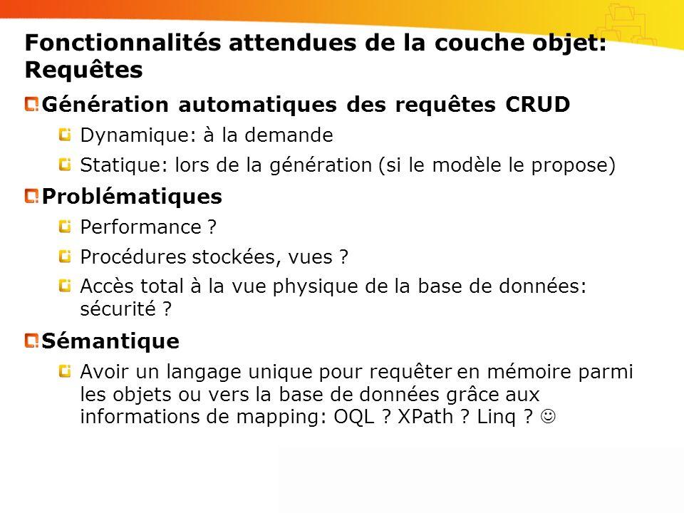 Fonctionnalités attendues de la couche objet: Requêtes Génération automatiques des requêtes CRUD Dynamique: à la demande Statique: lors de la générati