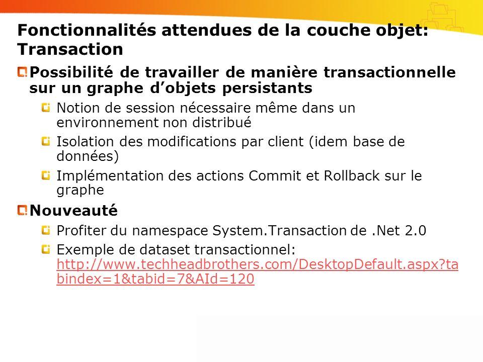 Fonctionnalités attendues de la couche objet: Transaction Possibilité de travailler de manière transactionnelle sur un graphe dobjets persistants Noti