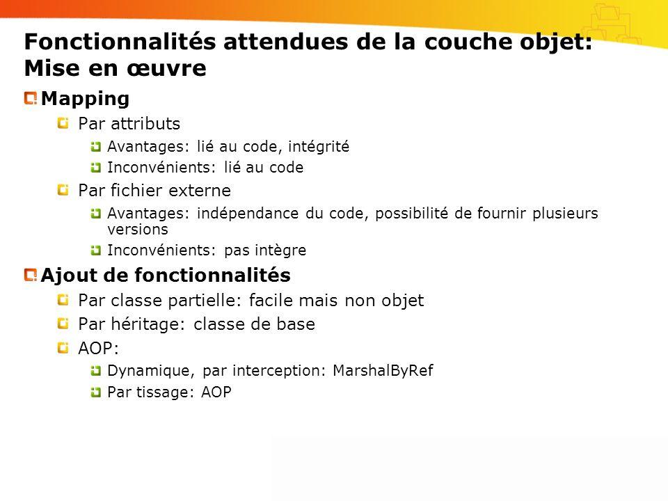 Fonctionnalités attendues de la couche objet: Mise en œuvre Mapping Par attributs Avantages: lié au code, intégrité Inconvénients: lié au code Par fic