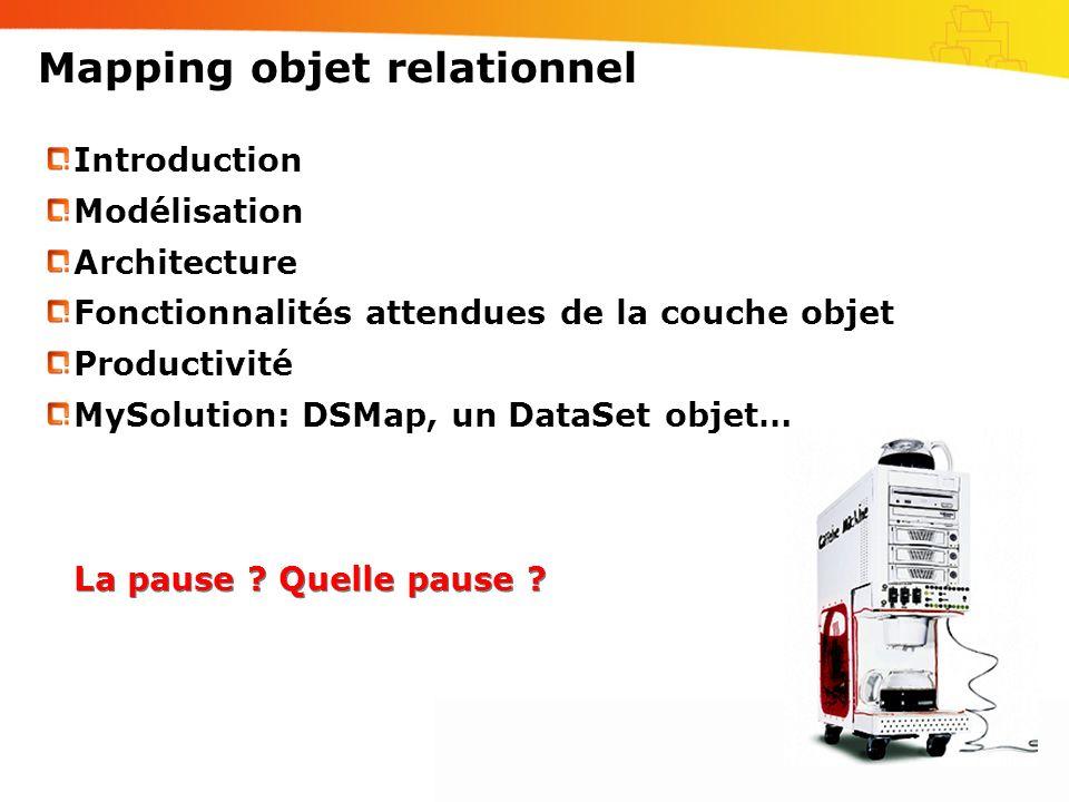 Mapping objet relationnel Introduction Modélisation Architecture Fonctionnalités attendues de la couche objet Productivité MySolution: DSMap, un DataS