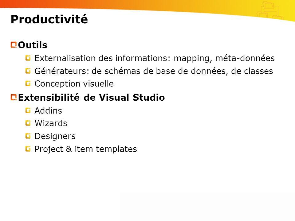 Productivité Outils Externalisation des informations: mapping, méta-données Générateurs: de schémas de base de données, de classes Conception visuelle