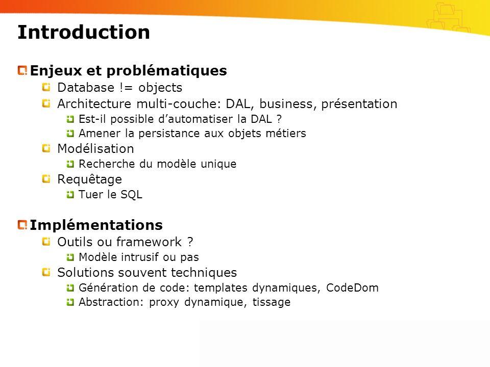 Introduction Enjeux et problématiques Database != objects Architecture multi-couche: DAL, business, présentation Est-il possible dautomatiser la DAL ?