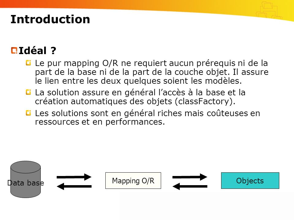 Introduction Data base Objects Mapping O/R Idéal ? Le pur mapping O/R ne requiert aucun prérequis ni de la part de la base ni de la part de la couche